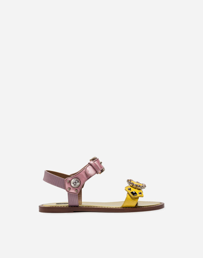 SANDAL IN IGUANA PRINT CALFSKIN AND SATIN WITH APPLIQUÉS