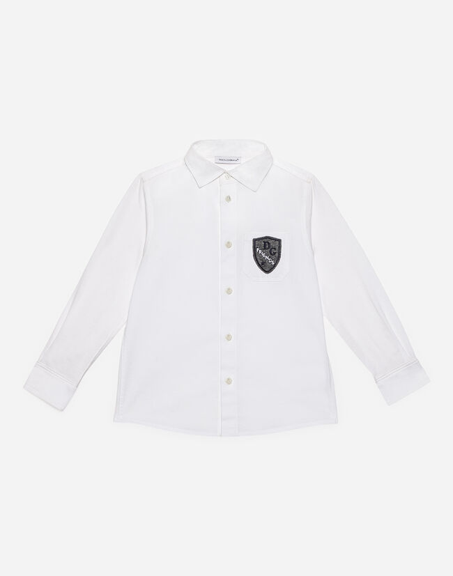 Dolce & Gabbana SHIRT IN STRETCH COTTON WITH PATCH