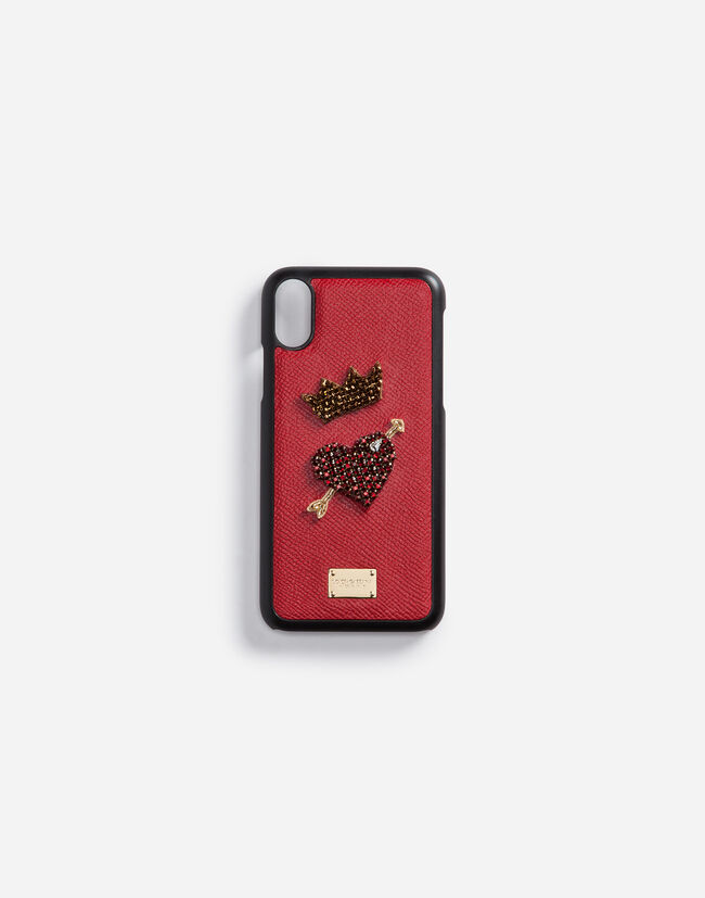 IPHONE X COVER WITH DAUPHINE CALFSKIN DETAIL AND EMBROIDERY
