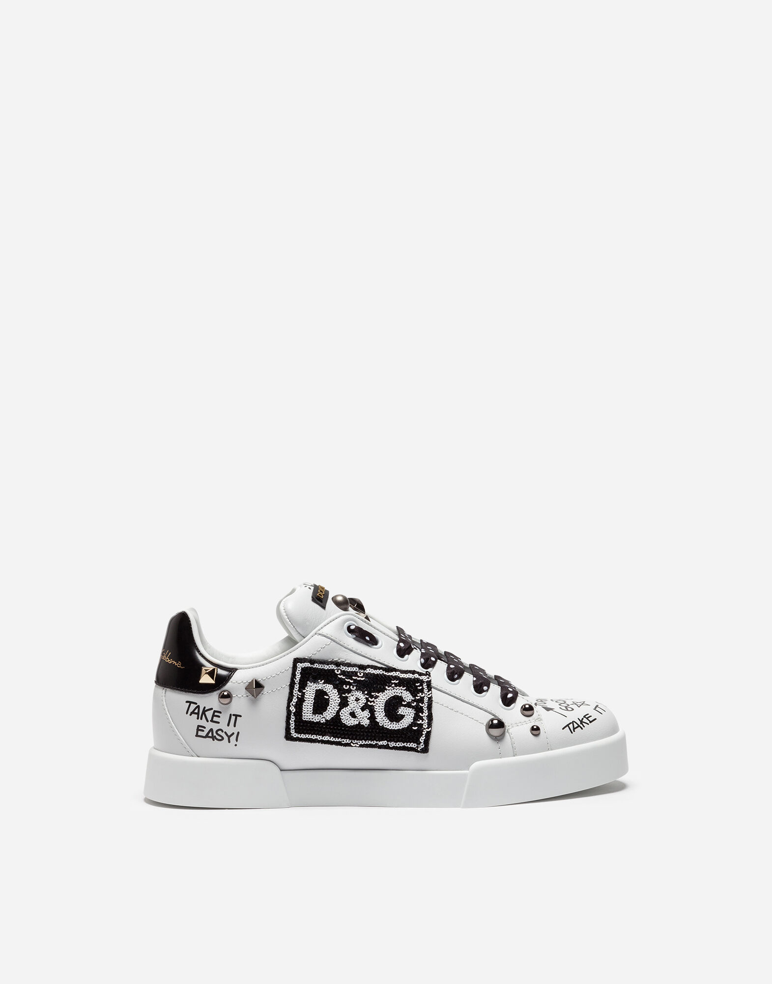 2014 new online Dolce & Gabbana Portofino embroidered sneakers outlet websites discount pictures Pawd1L