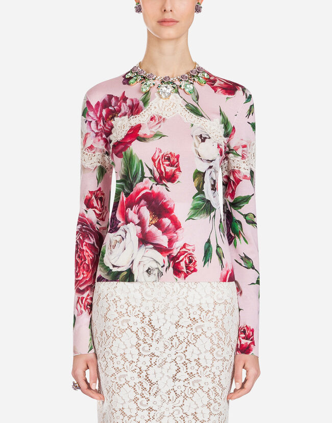 PEONY-PRINT SILK SWEATER WITH ROUND NECK