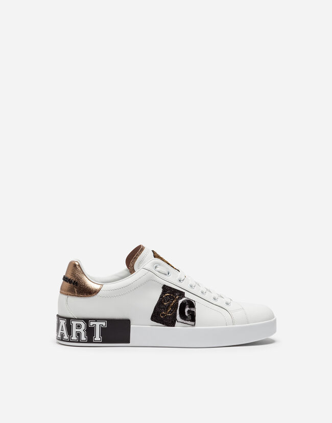 Dolce&Gabbana PORTOFINO SNEAKERS IN LEATHER WITH PATCH AND EMBROIDERY