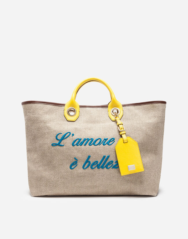 Dolce&Gabbana SHOPPING BAG IN FABRIC WITH PRINTED CALFSKIN EMBROIDERY AND TRIM