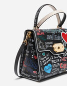 WELCOME HANDBAG IN GRAFFITI PRINT CALFSKIN