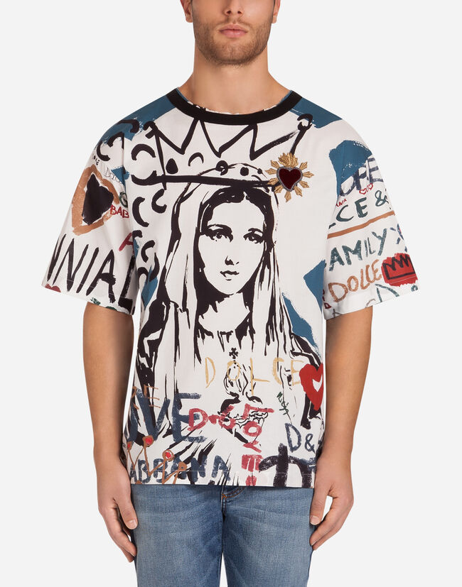 T-SHIRT IN PRINTED COTTON POPLIN