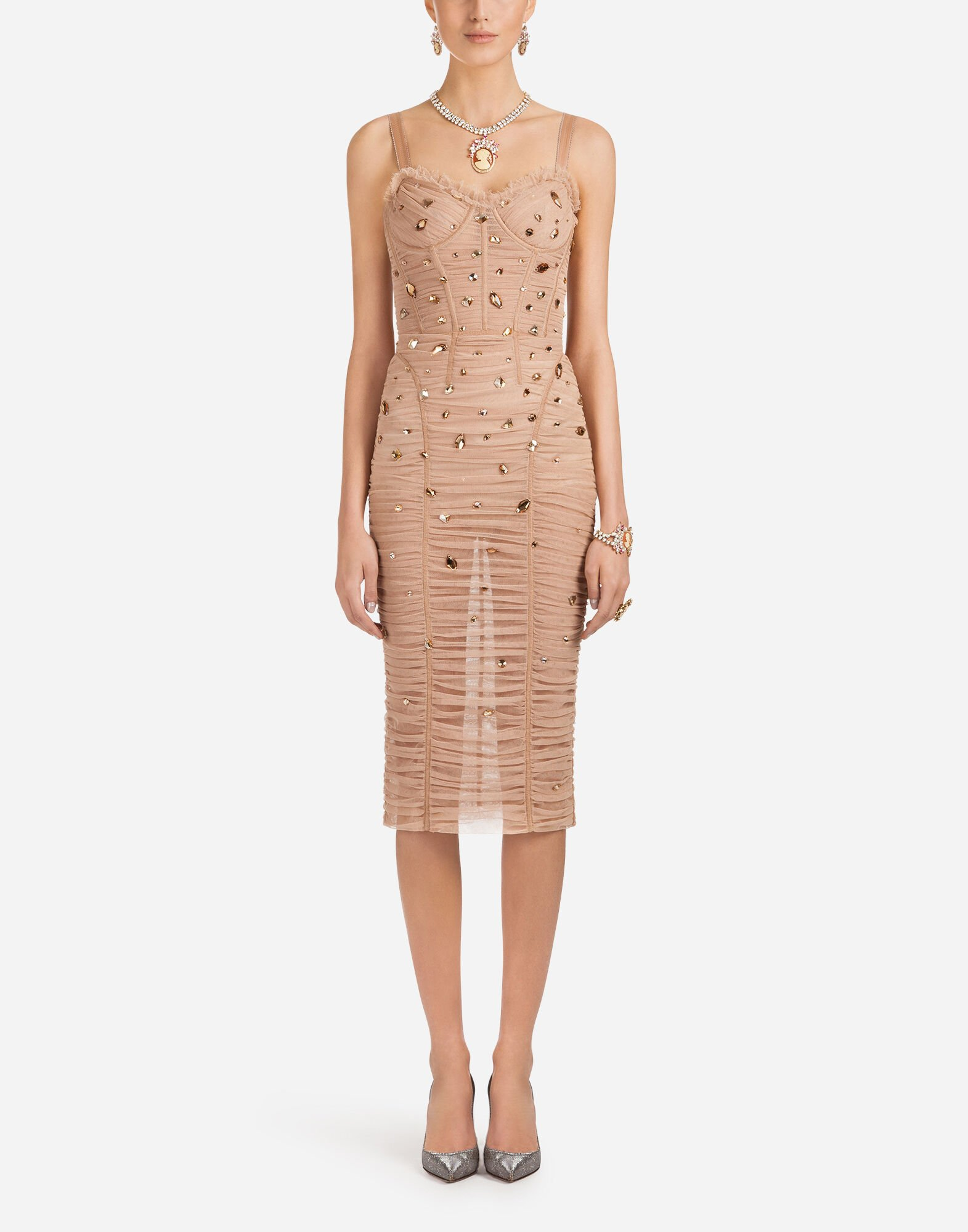 Corset-Bodice Jewel-Embellished Ruched Tulle Cocktail Dress in Neutrals