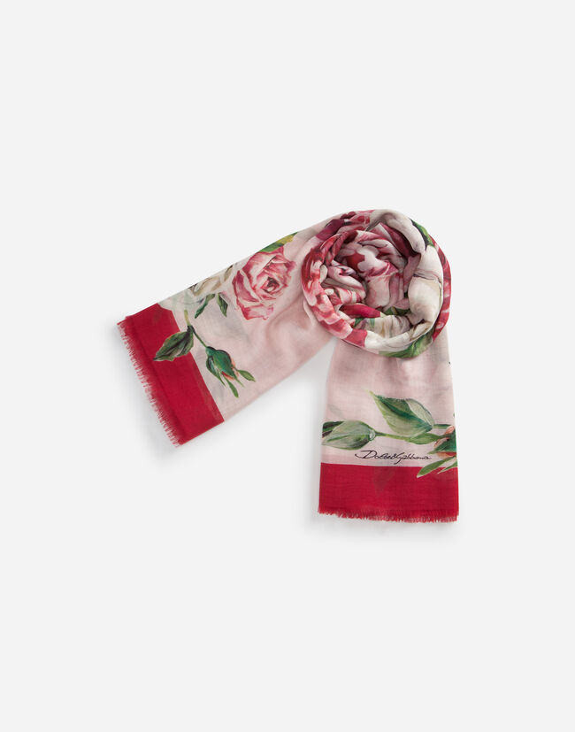 PRINTED SILK AND CASHMERE SCARF (140 X 140)