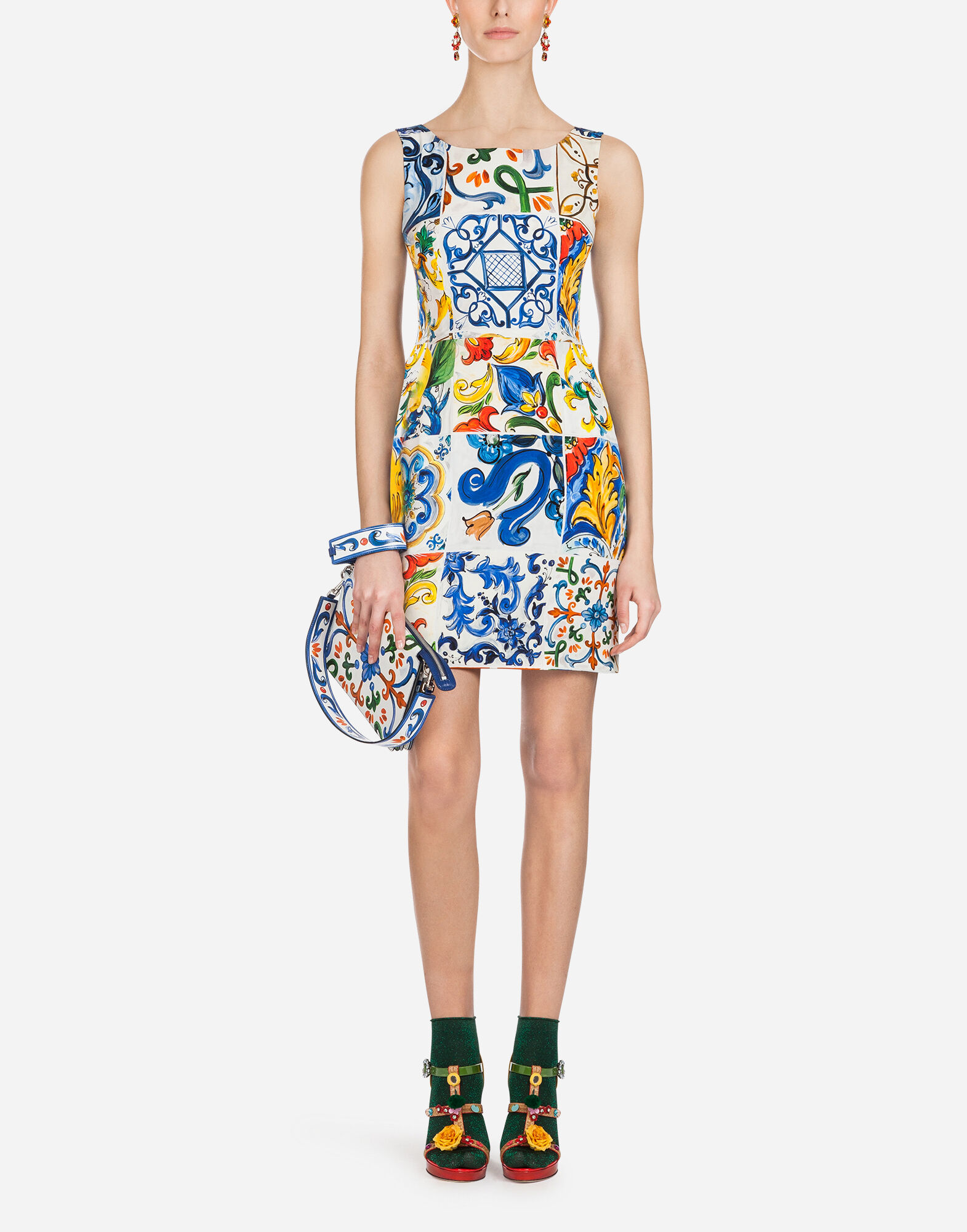 SHORT SILK DRESS WITH MAJOLICA PRINT