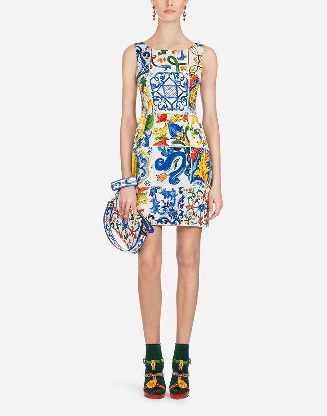 Dolce&Gabbana SHORT SILK DRESS WITH MAJOLICA PRINT