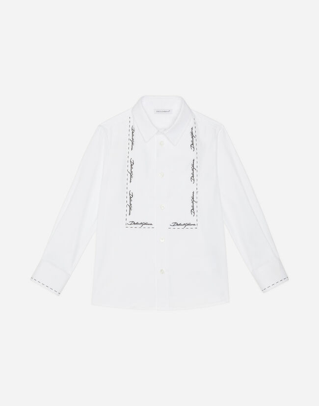 STRETCH COTTON SHIRT WITH EMBROIDERY