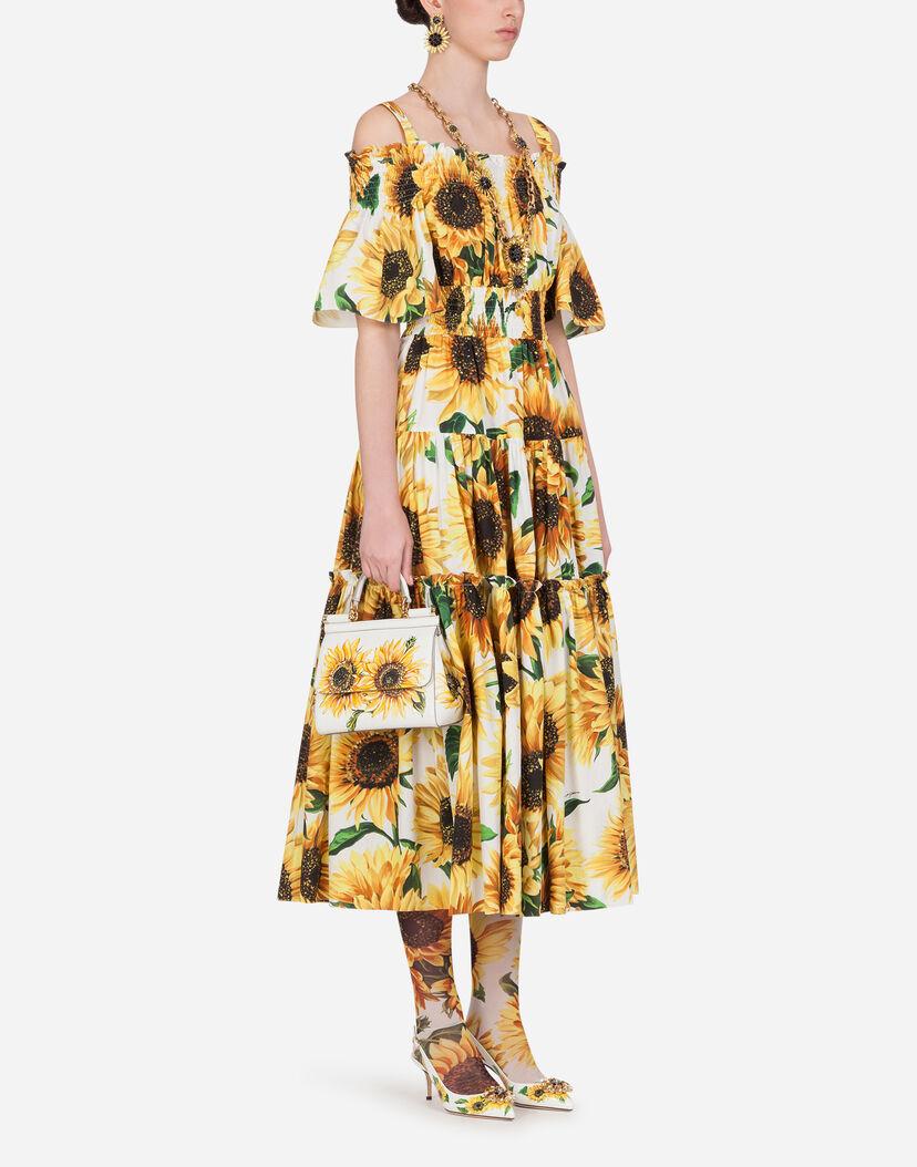 Vestidos Mujer Nueva Colección Dolcegabbana Vestido Largo De Popelina Con Estampado Girasoles