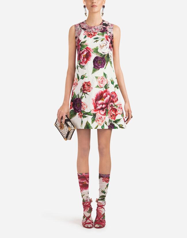 PEONY-PRINT BROCADE DRESS