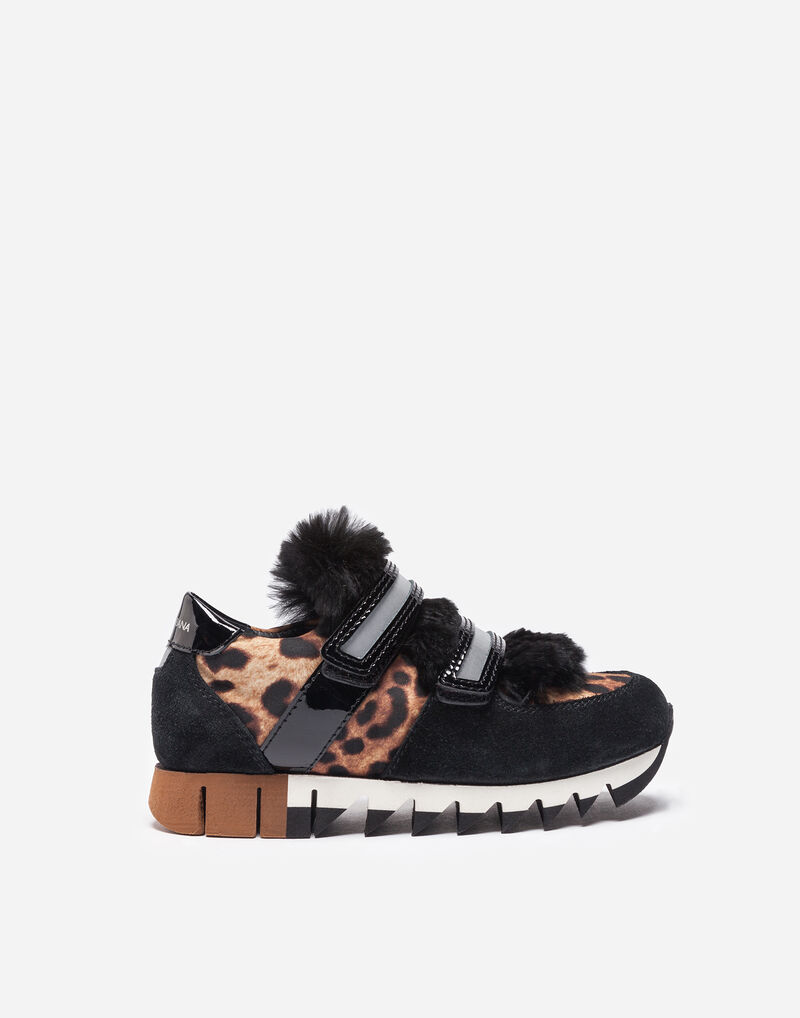 LEATHER SNEAKERS WITH FUR DETAILS