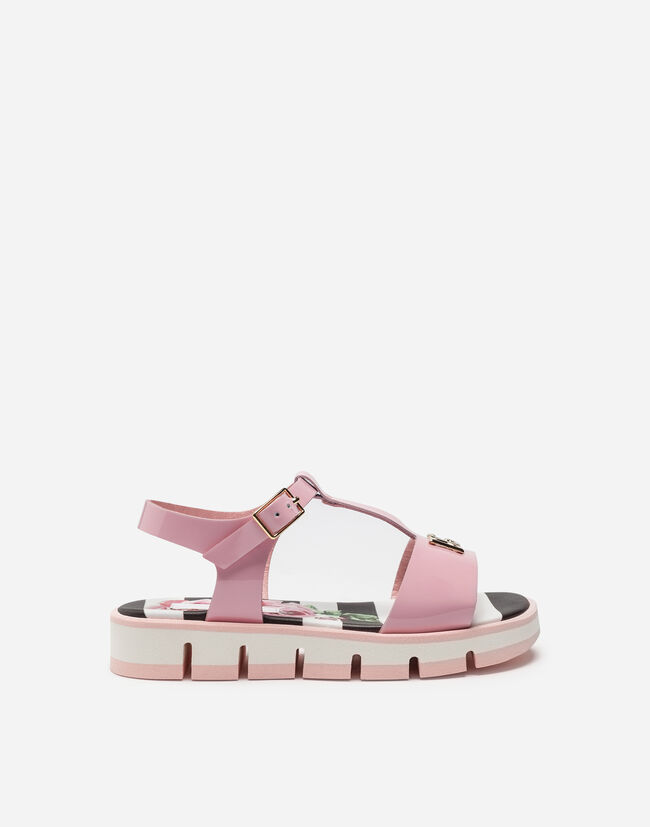 PATENT LEATHER SANDALS WITH LOGO