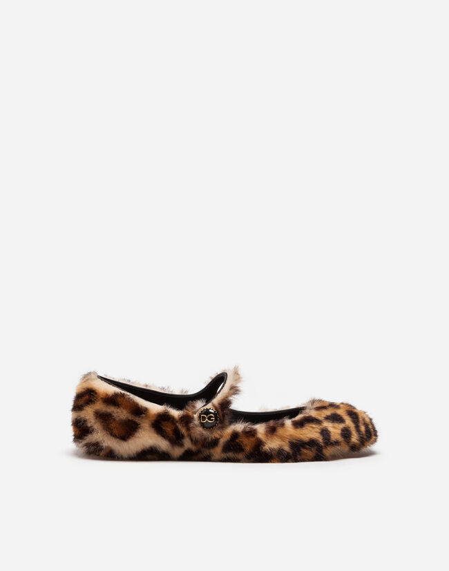 Dolce & Gabbana BALLET FLATS IN LEOPARD FAUX FUR WITH JEWEL BUTTON