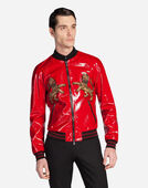 PATENT LEATHER BOMBER JACKET WITH PATCH