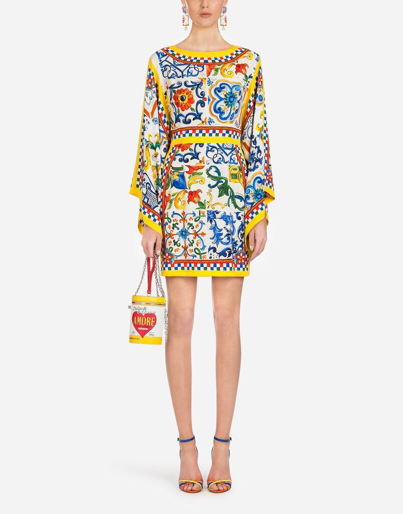 Dolce Gabbana Short Silk Dress With Majolica Print