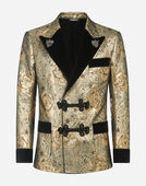 Dolce&Gabbana TUXEDO-STYLE SMOKING JACKET IN JACQUARD WOOL WITH PATCHES