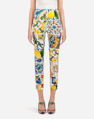 MAJOLICA-PRINT SILK LEGGINGS
