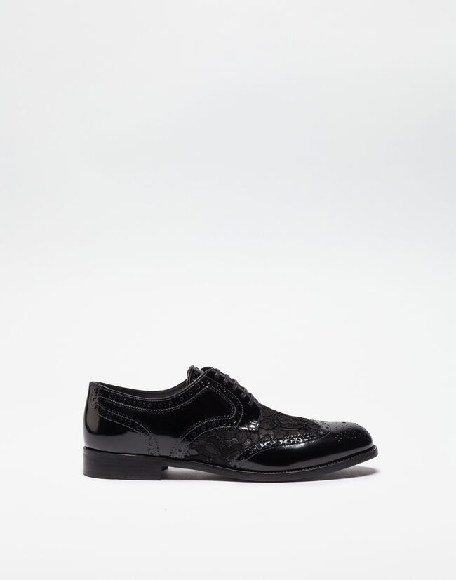 Dolce&Gabbana LEATHER DERBY SHOE WITH LACE DETAIL