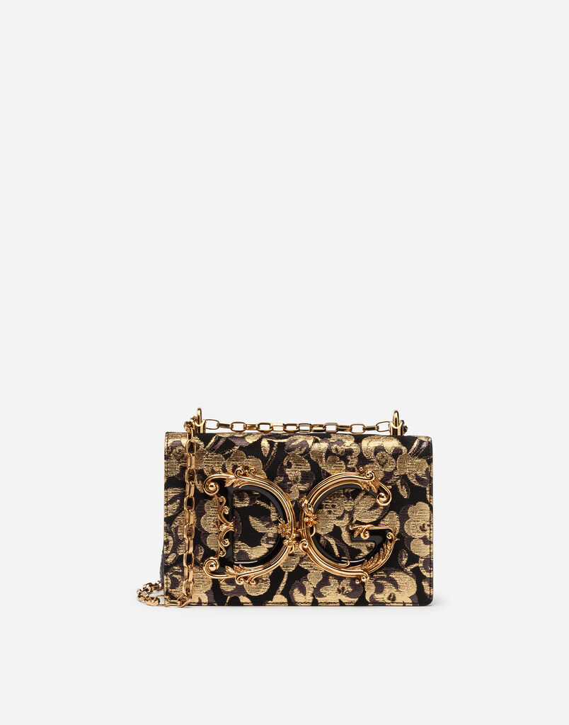 Dolce Gabbana Dg S Shoulder Bag In Brocade With Embellishments And Embroidery