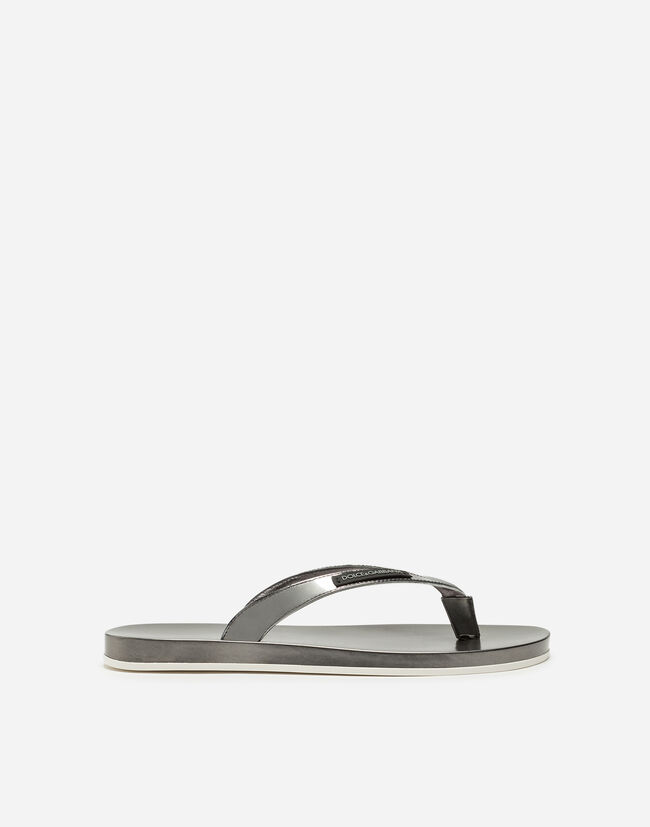 THONG SANDALS IN RUBBER AND MIRRORED CALFSKIN