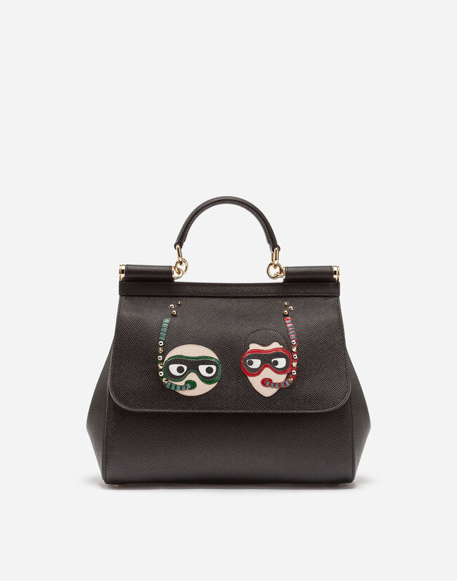 MEDIUM SICILY BAG IN DAUPHINE CALFSKIN WITH PATCHES OF THE DESIGNERS