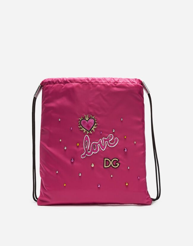 NYLON DRAWSTRING BACKPACK WITH PATCH