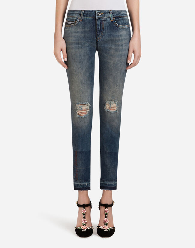DENIM STRETCH FIT PRETTY JEANS WITH PATCH LABEL