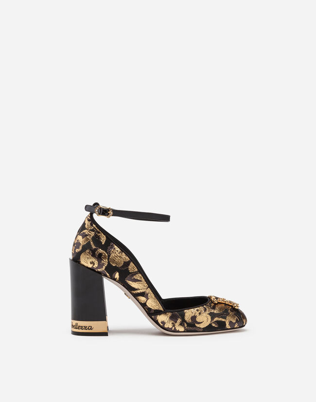 Dolce & Gabbana JACQUARD PUMPS WITH STRAP AND DG LOGO