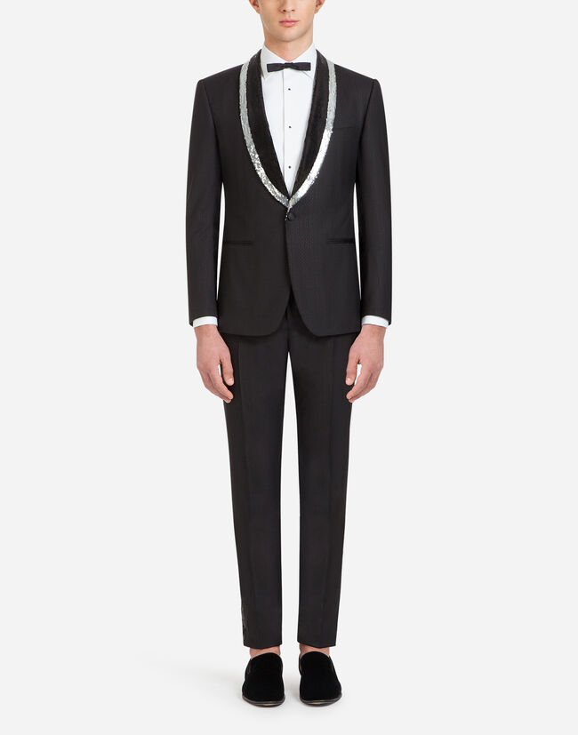 SICILIA-FIT TUXEDO SUIT WITH SEQUIN EMBROIDERY