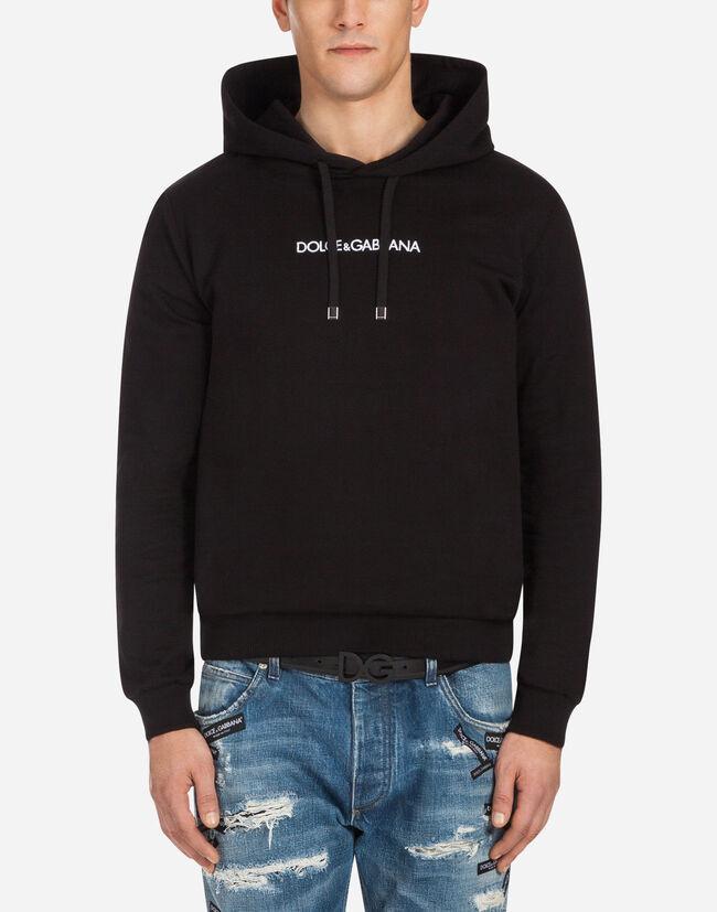 fe85b334c4edaf Sweat-Shirt en Coton avec Capuche et Broderie - Sweatshirts Homme    Dolce Gabbana