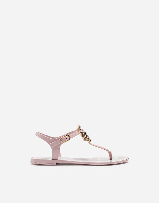 Dolce&Gabbana RUBBER AND PATENT LEATHER THONG SANDALS WITH BROOCH DETAIL