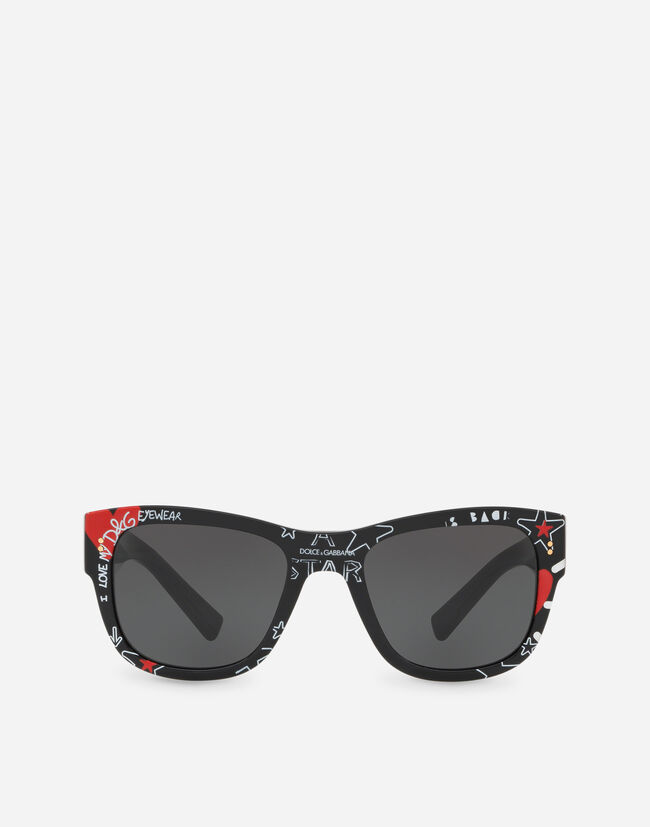 Dolce & Gabbana SQUARE SUNGLASSES IN ACETATE WITH GRAFFITI PRINT