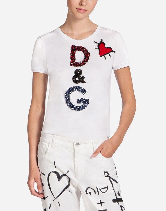 Cotton t shirt with patch women dolce gabbana for Dolce gabbana t shirt women