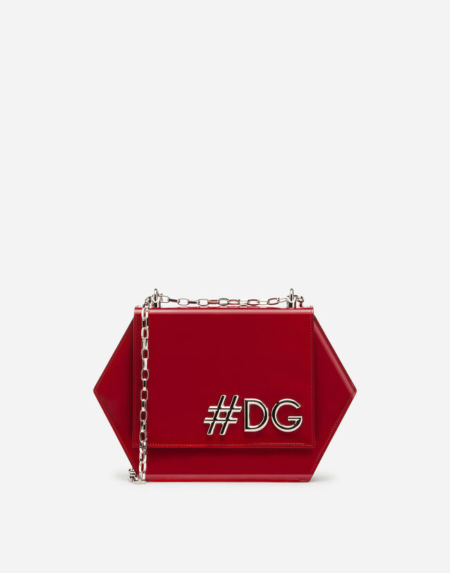 DG GIRLS HEXAGONAL CROSS-BODY BAG IN PATENT LEATHER