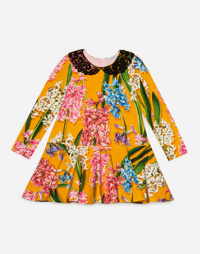 Dolce & Gabbana PRINTED COTTON DRESS WITH COLLAR