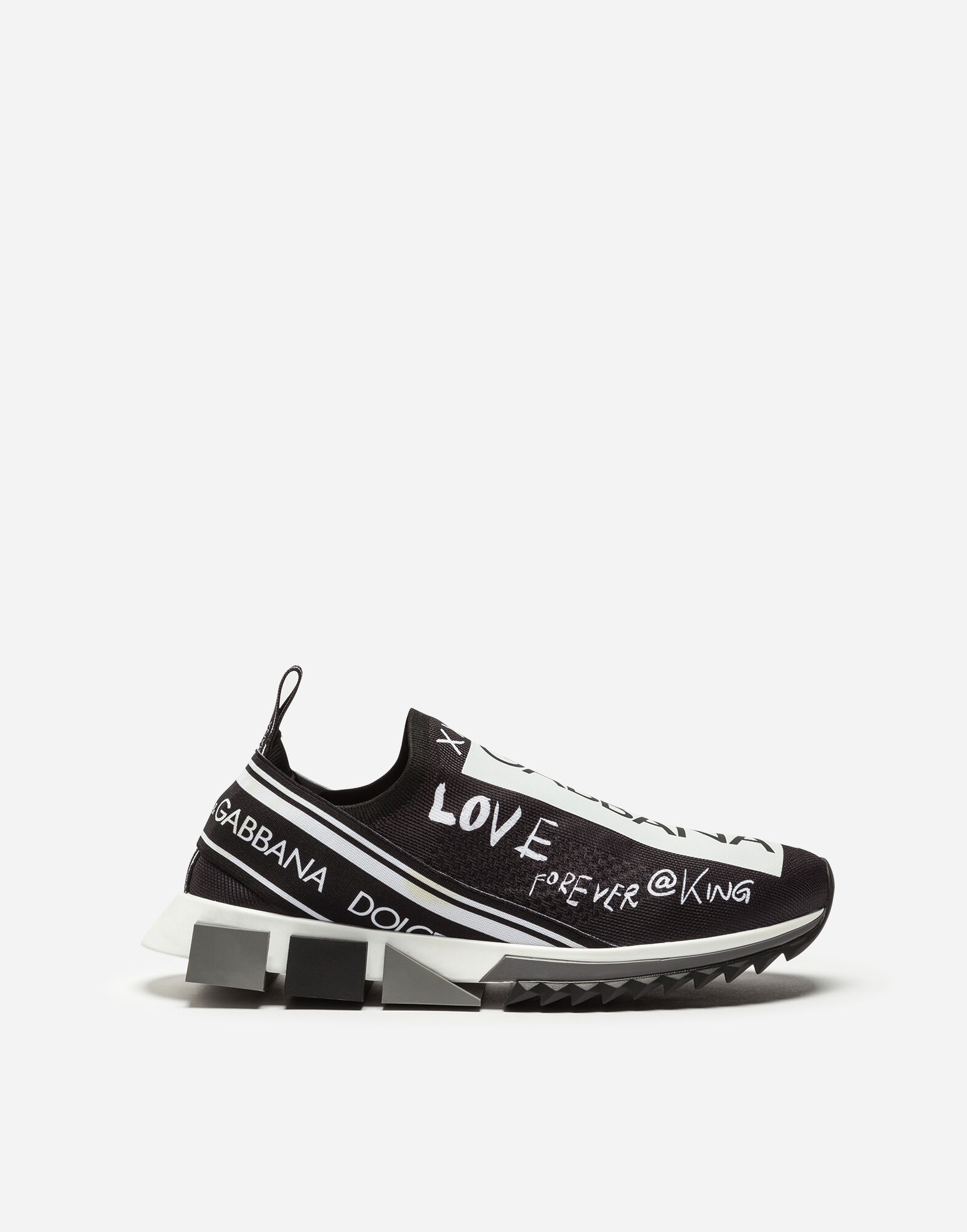 Men'S Sorrento Logo-Stripe Slip-On Trainer Sneakers in Black from DOLCE & GABBANA