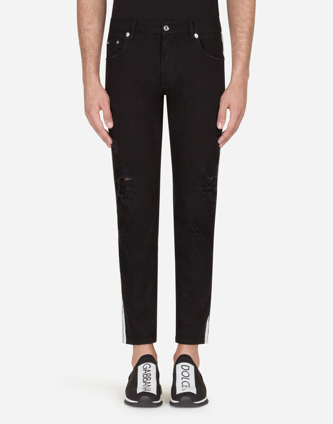 Dolce & Gabbana SKINNY FIT STRETCH JEANS WITH SIDE BANDS