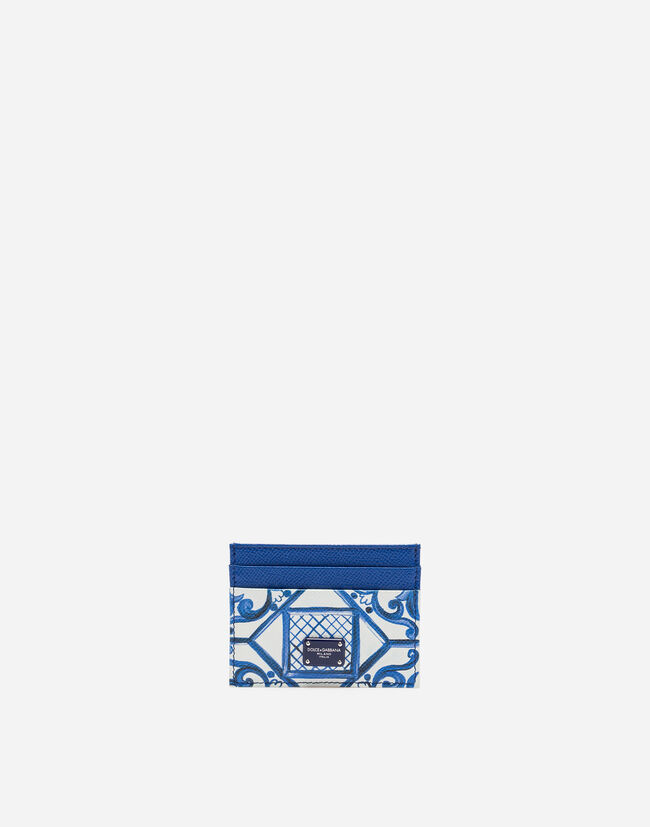 PRINTED DAUPHINE CALFSKIN CARD HOLDER