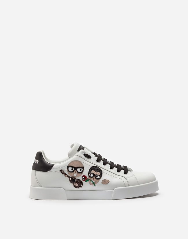 Dolce & Gabbana PORTOFINO SNEAKERS IN NAPPA CALFSKIN WITH DESIGNERS' PATCHES