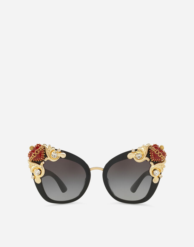 BUTTERFLY SUNGLASSES IN ACETATE AND METAL WITH PRECIOUS STONE APPLIQUÉS