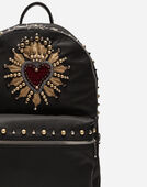 NYLON VULCANO BACKPACK WITH HEART PATCH