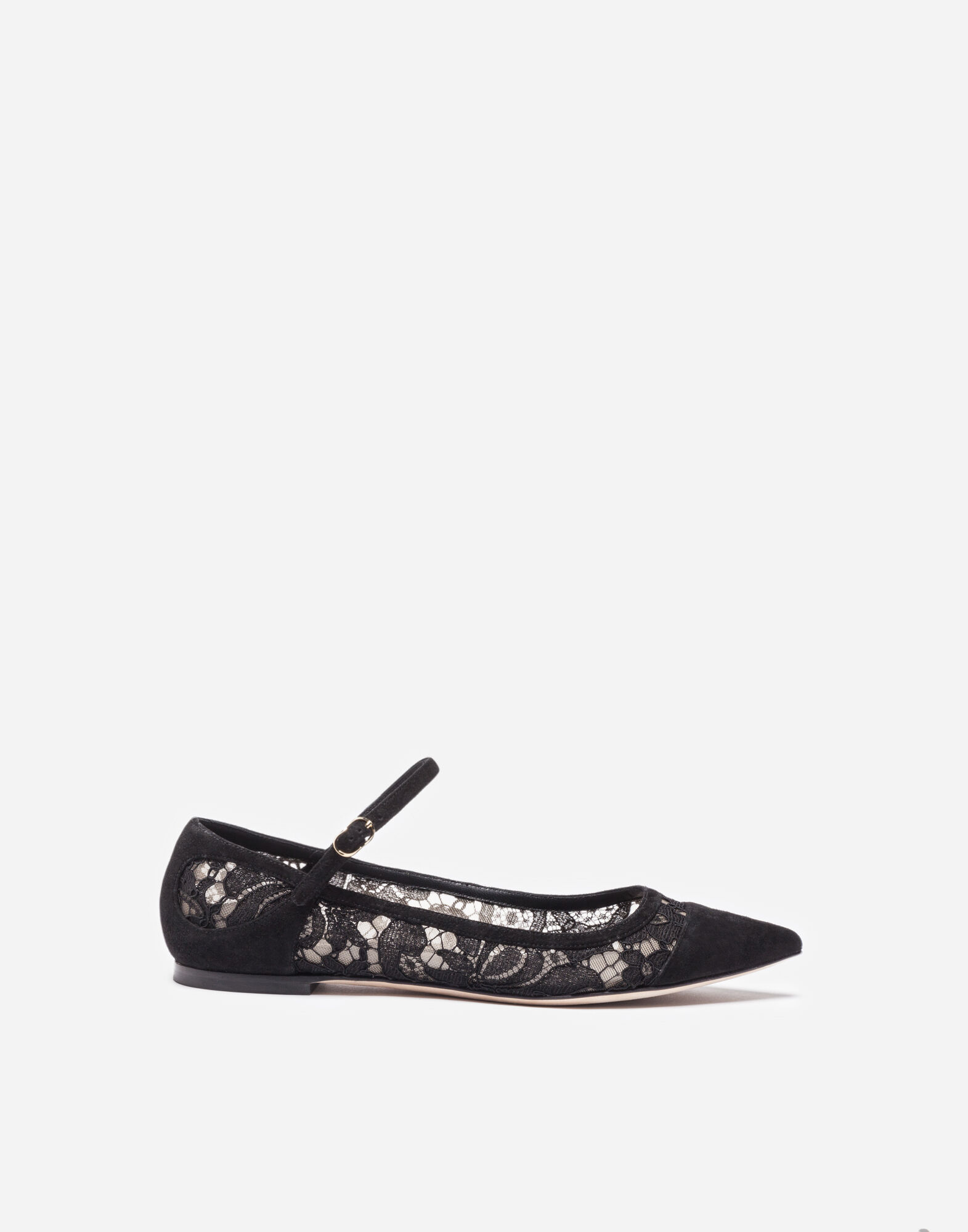 sale low shipping Dolce & Gabbana Lace and suede ballerinas discount big sale official online a6B9Z76QQ