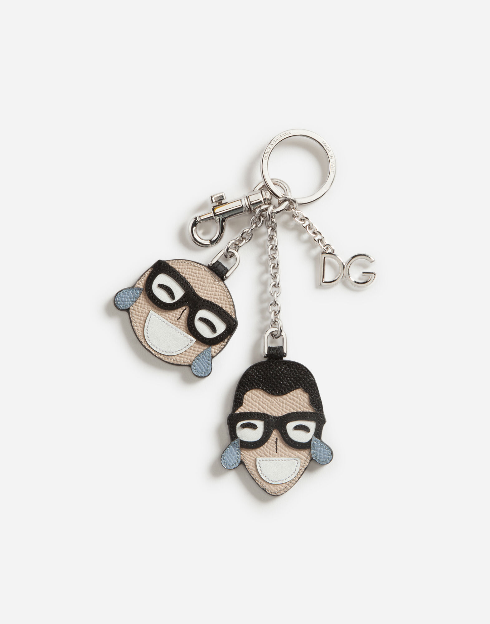 DAUPHINE CALFSKIN KEY RING WITH DESIGNERS' PATCH