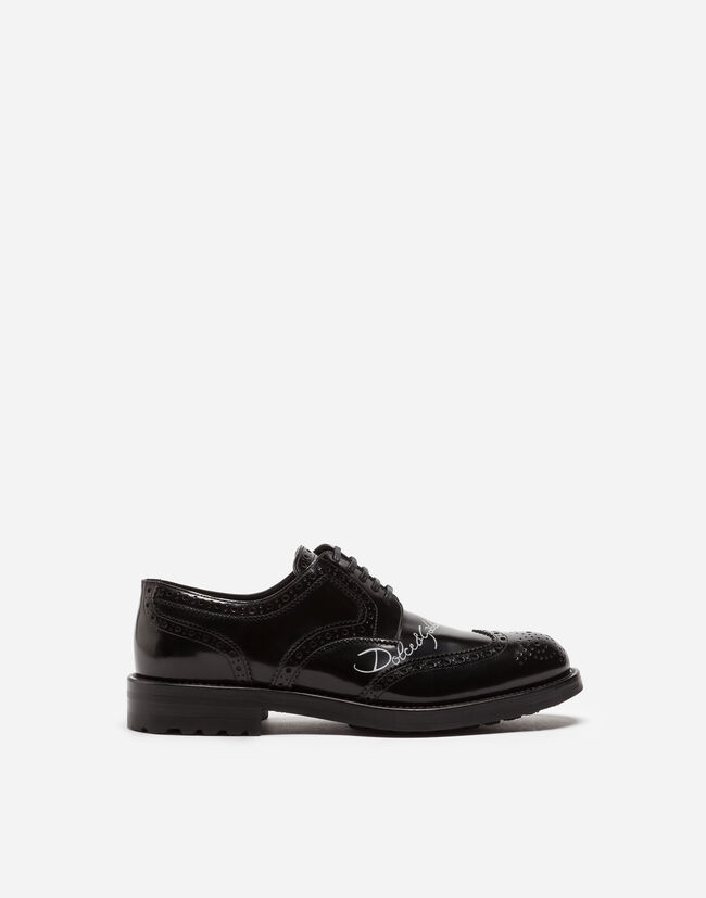 Dolce & Gabbana DERBY IN BRUSHED CALFSKIN WITH LOGO PRINT