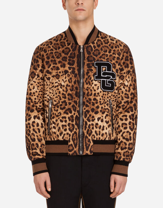 PRINTED NYLON BOMBER JACKET WITH PATCH
