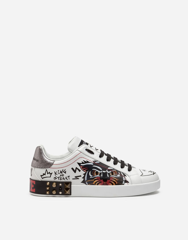 PORTOFINO SNEAKERS IN PRINTED CALFSKIN WITH APPLIQUES