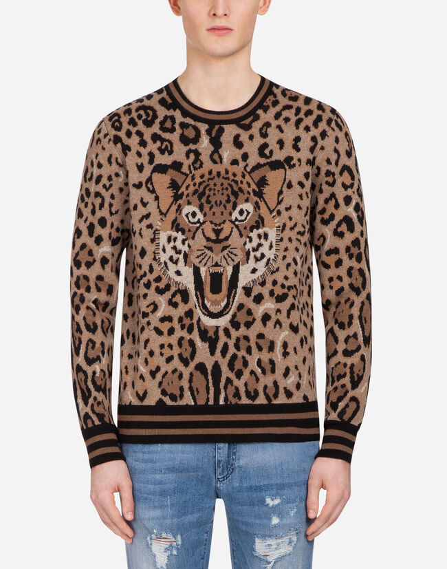 JACQUARD WOOL KNIT WITH PATCH