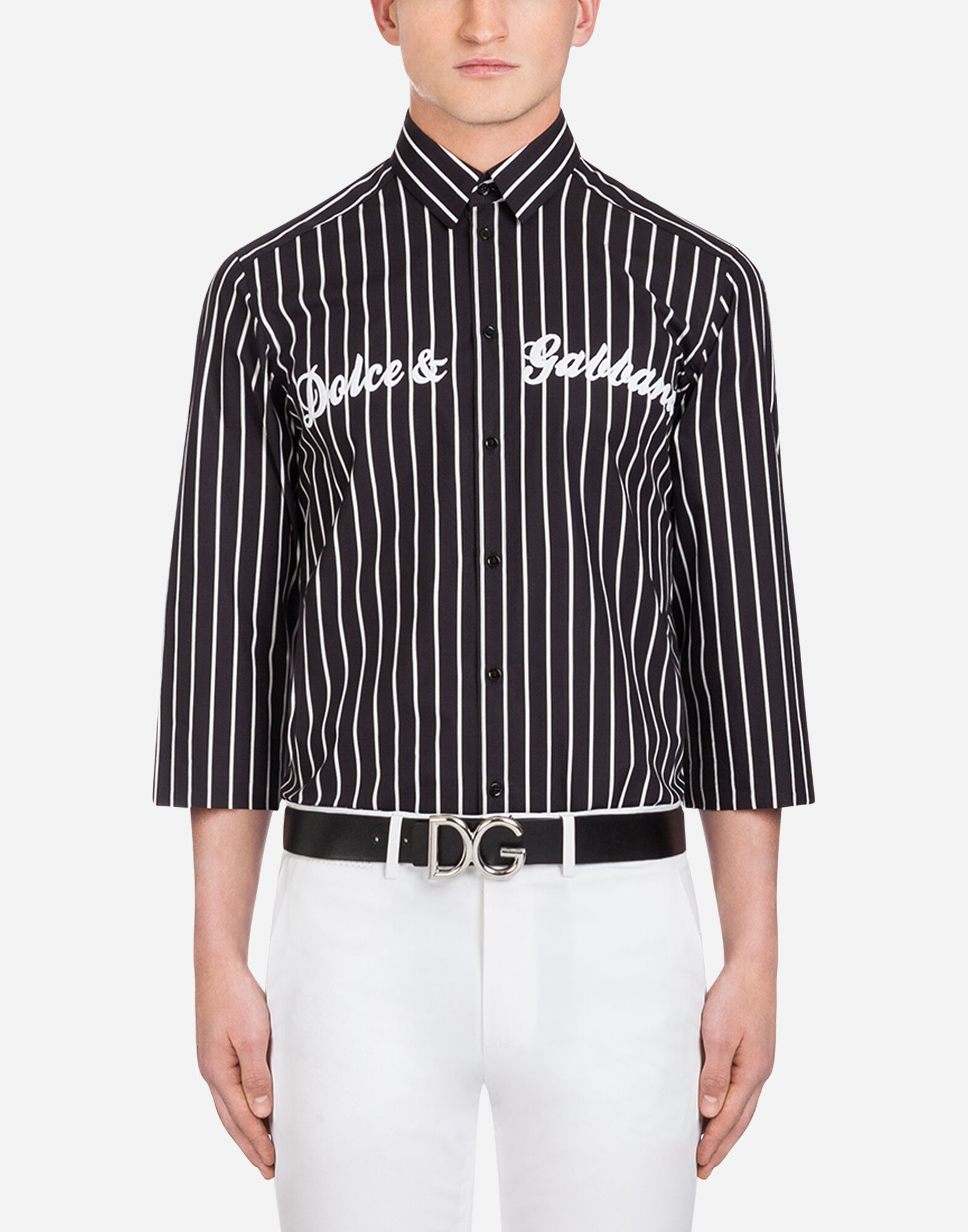 Slim-fit Logo-print Striped Cotton-poplin Shirt Dolce & Gabbana Outlet Wholesale Price myUzdJA